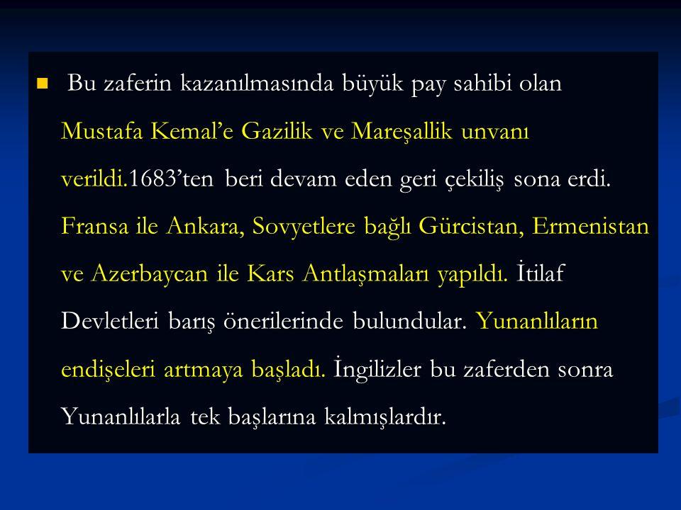 Bu zaferin kazanılmasında büyük pay sahibi olan Mustafa Kemal'e Gazilik ve Mareşallik unvanı verildi.1683'ten beri devam eden geri çekiliş sona erdi.