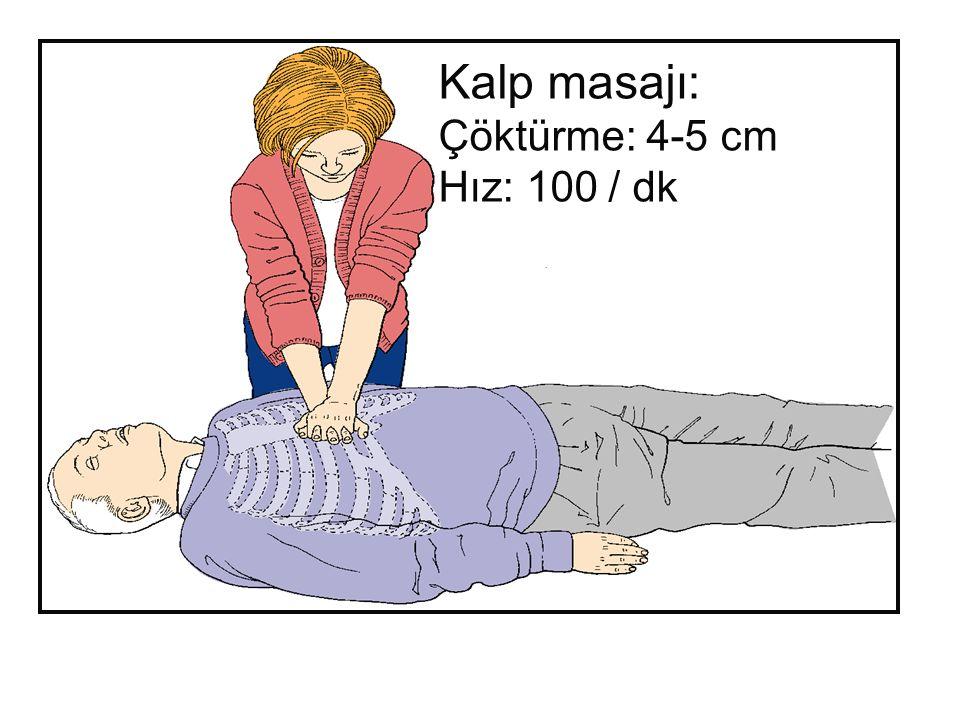 Kalp masajı: Çöktürme: 4-5 cm Hız: 100 / dk