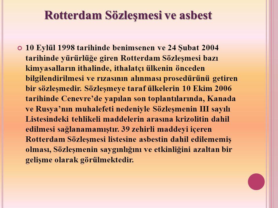 Rotterdam Sözleşmesi ve asbest