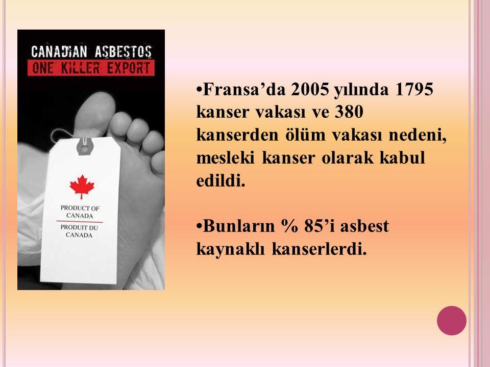 •Fransa'da 2005 yılında 1795 kanser vakası ve 380 kanserden ölüm vakası nedeni, mesleki kanser olarak kabul edildi.