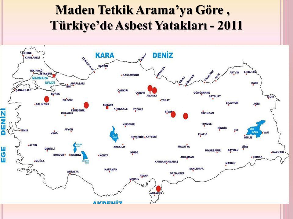 Maden Tetkik Arama'ya Göre , Türkiye'de Asbest Yatakları - 2011