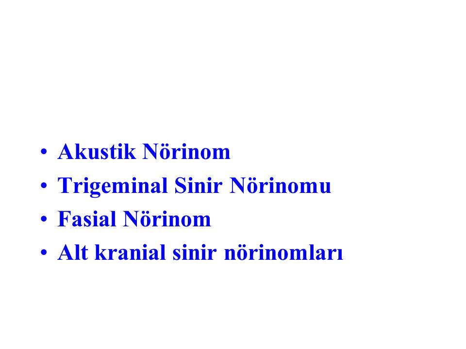 Akustik Nörinom Trigeminal Sinir Nörinomu Fasial Nörinom Alt kranial sinir nörinomları