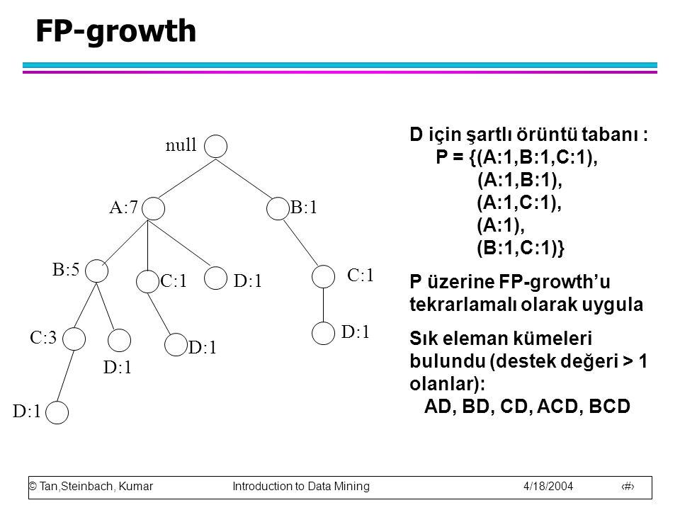 FP-growth D için şartlı örüntü tabanı : P = {(A:1,B:1,C:1), (A:1,B:1), (A:1,C:1), (A:1), (B:1,C:1)}