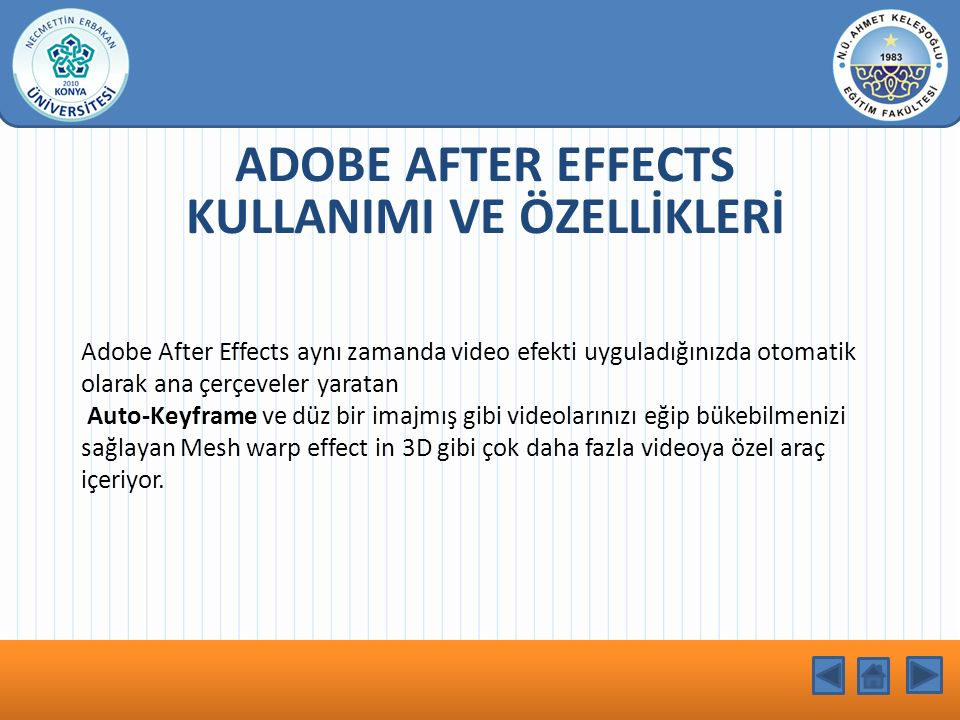 ADOBE AFTER EFFECTS KULLANIMI VE ÖZELLİKLERİ