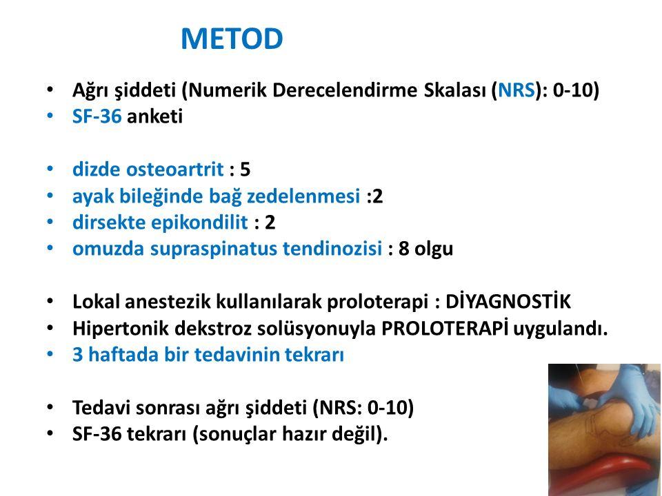 METOD Ağrı şiddeti (Numerik Derecelendirme Skalası (NRS): 0-10)