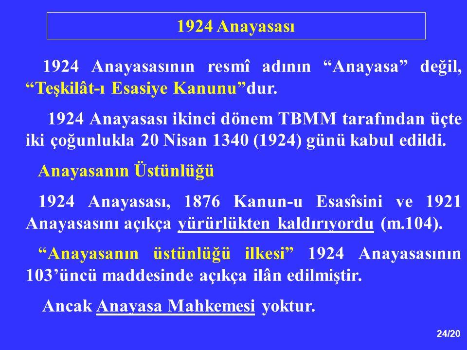 1924 Anayasası 1924 Anayasasının resmî adının Anayasa değil, Teşkilât-ı Esasiye Kanunu dur.