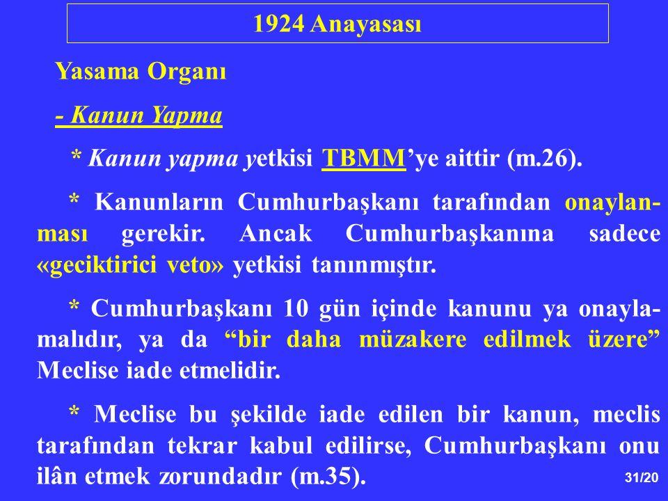 1924 Anayasası Yasama Organı. - Kanun Yapma. * Kanun yapma yetkisi TBMM'ye aittir (m.26).