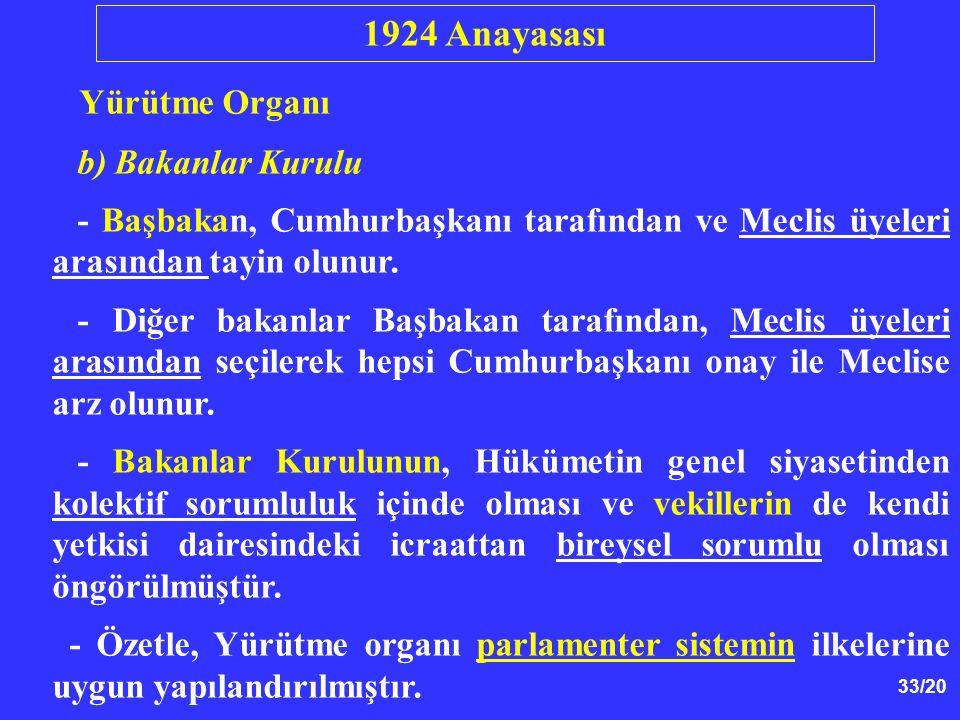 1924 Anayasası Yürütme Organı b) Bakanlar Kurulu