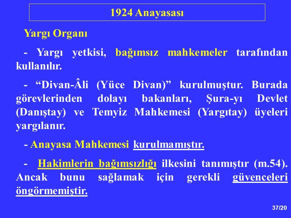 1924 Anayasası Yargı Organı. - Yargı yetkisi, bağımsız mahkemeler tarafından kullanılır.