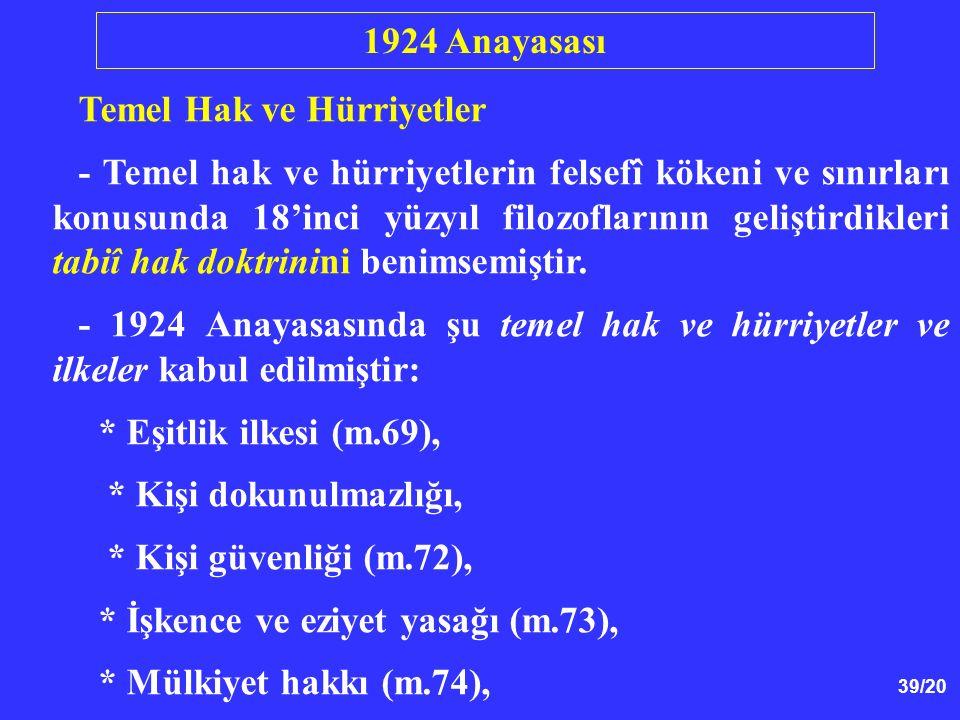 1924 Anayasası Temel Hak ve Hürriyetler.