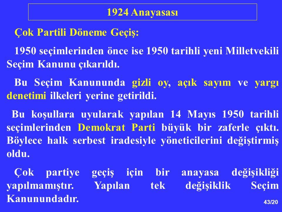 1924 Anayasası Çok Partili Döneme Geçiş: 1950 seçimlerinden önce ise 1950 tarihli yeni Milletvekili Seçim Kanunu çıkarıldı.