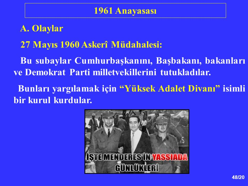 1961 Anayasası A. Olaylar. 27 Mayıs 1960 Askerî Müdahalesi:
