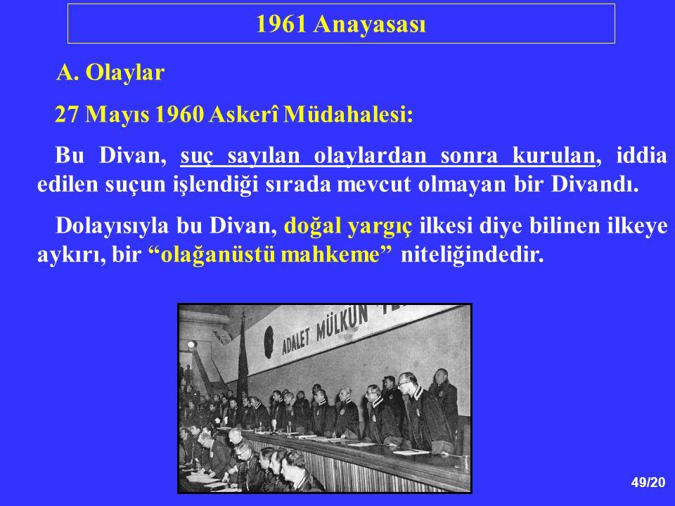 1961 Anayasası A. Olaylar 27 Mayıs 1960 Askerî Müdahalesi: