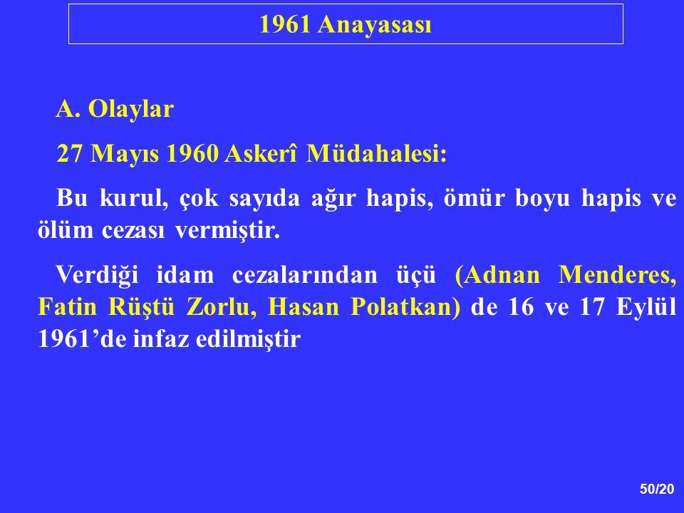 1961 Anayasası A. Olaylar. 27 Mayıs 1960 Askerî Müdahalesi: Bu kurul, çok sayıda ağır hapis, ömür boyu hapis ve ölüm cezası vermiştir.