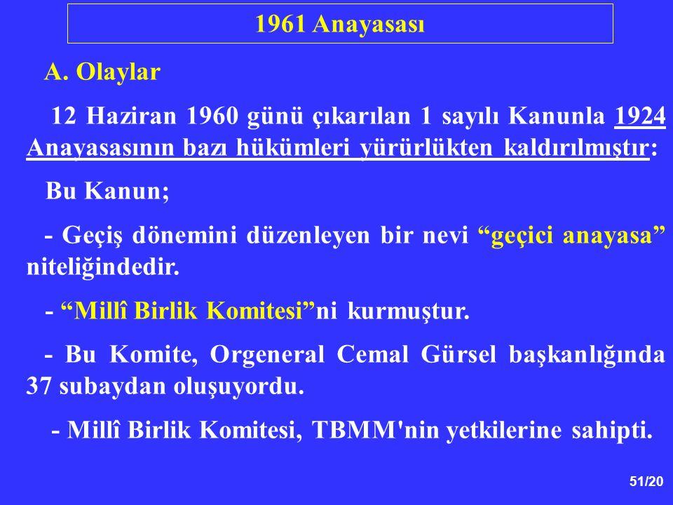 1961 Anayasası A. Olaylar. 12 Haziran 1960 günü çıkarılan 1 sayılı Kanunla 1924 Anayasasının bazı hükümleri yürürlükten kaldırılmıştır: