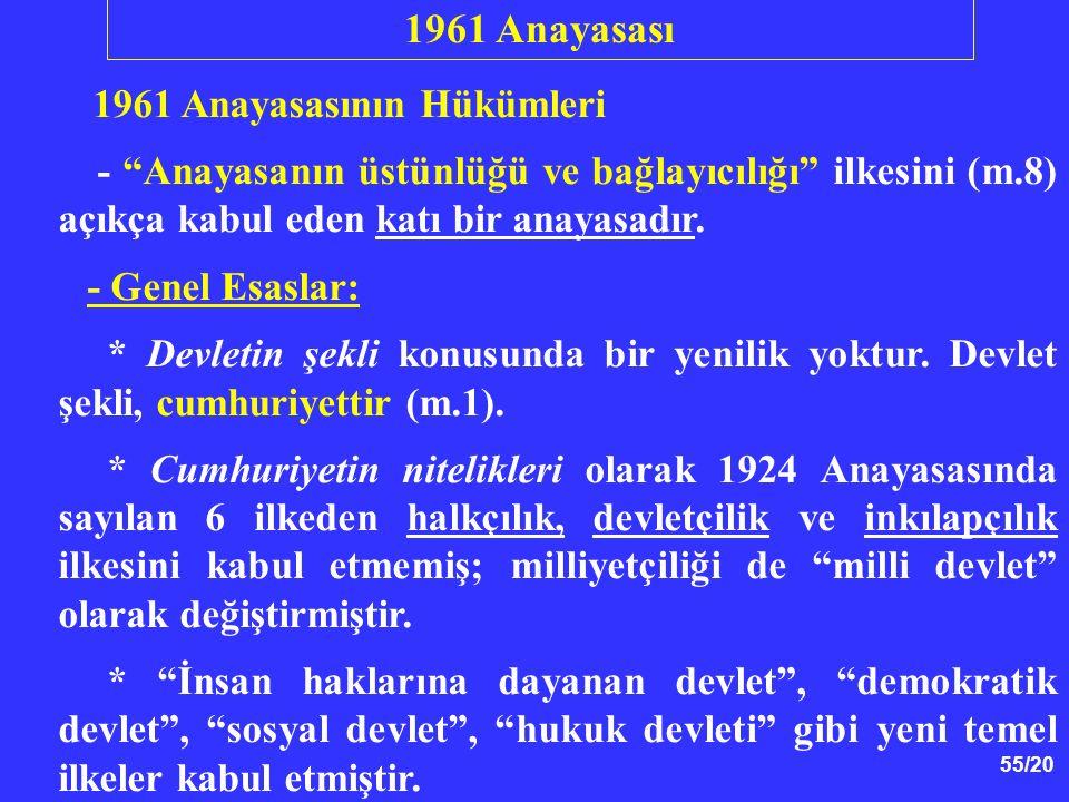 1961 Anayasası 1961 Anayasasının Hükümleri. - Anayasanın üstünlüğü ve bağlayıcılığı ilkesini (m.8) açıkça kabul eden katı bir anayasadır.