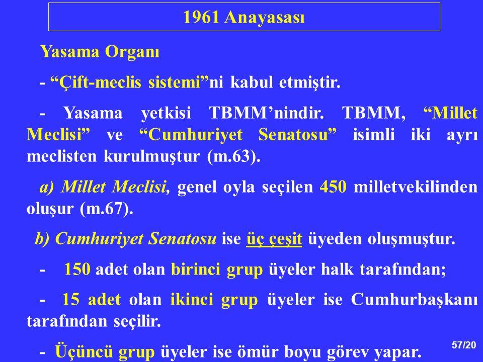 1961 Anayasası Yasama Organı - Çift-meclis sistemi ni kabul etmiştir.
