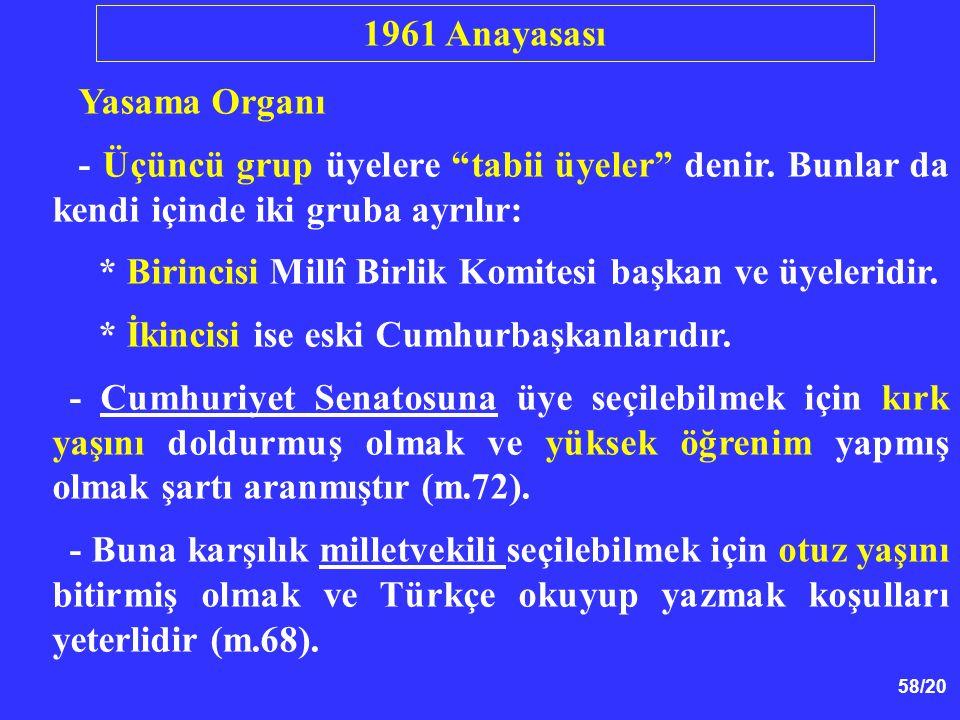 1961 Anayasası Yasama Organı. - Üçüncü grup üyelere tabii üyeler denir. Bunlar da kendi içinde iki gruba ayrılır: