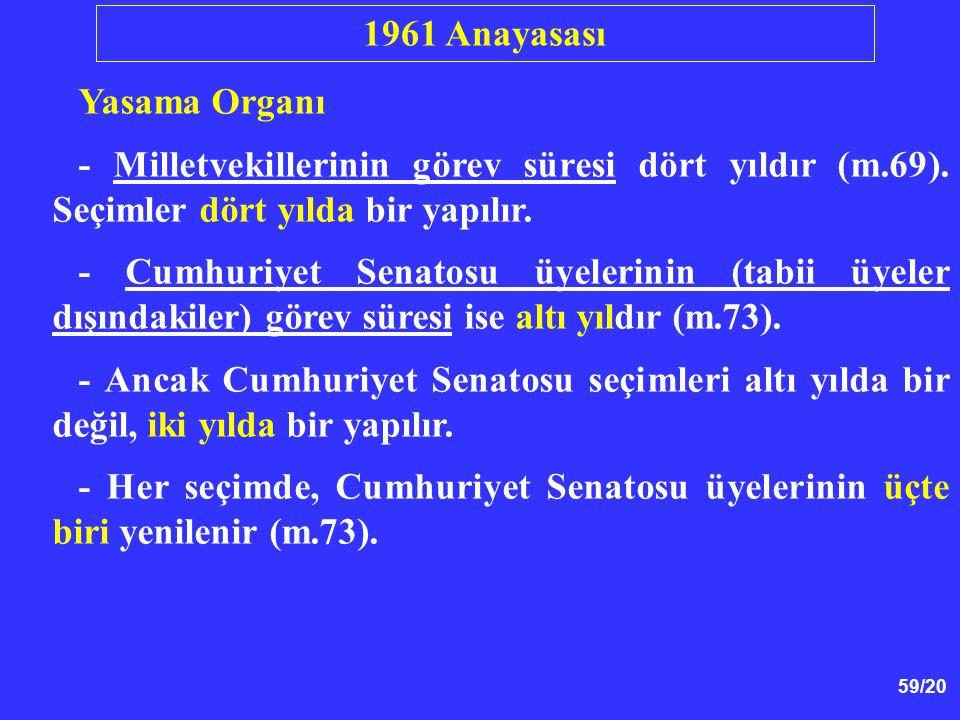1961 Anayasası Yasama Organı. - Milletvekillerinin görev süresi dört yıldır (m.69). Seçimler dört yılda bir yapılır.