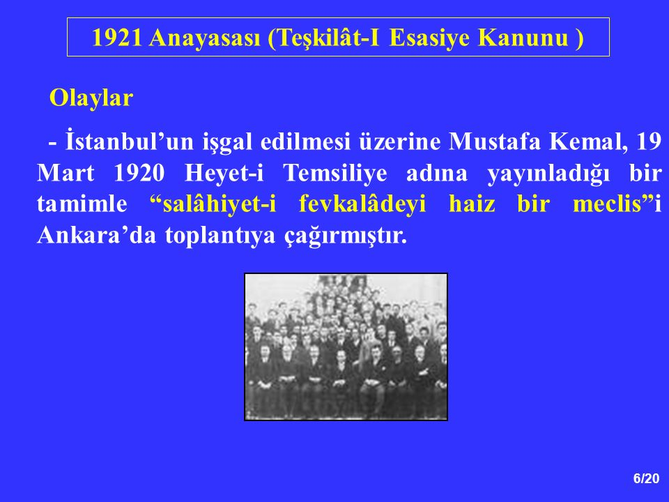 1921 Anayasası (Teşkilât-I Esasiye Kanunu )