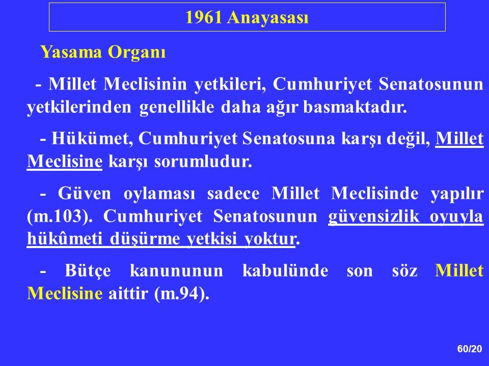 1961 Anayasası Yasama Organı. - Millet Meclisinin yetkileri, Cumhuriyet Senatosunun yetkilerinden genellikle daha ağır basmaktadır.
