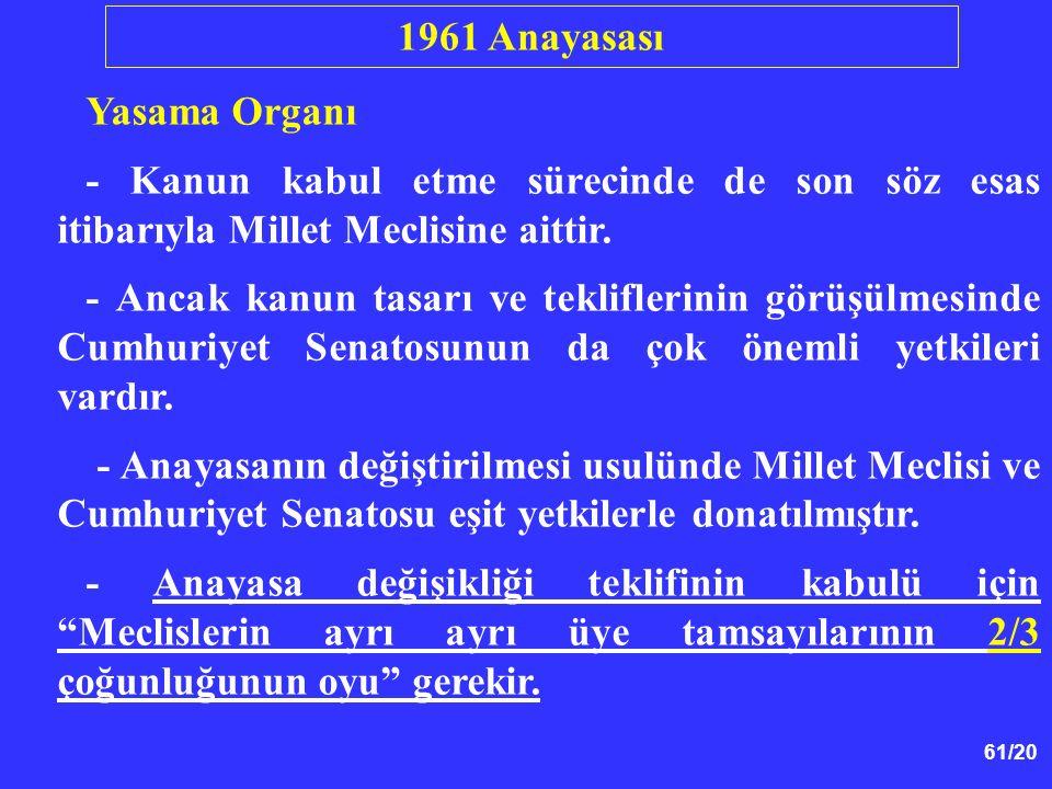 1961 Anayasası Yasama Organı. - Kanun kabul etme sürecinde de son söz esas itibarıyla Millet Meclisine aittir.
