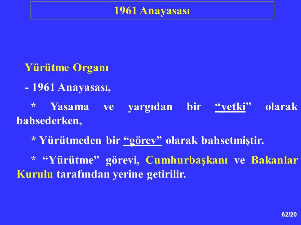 1961 Anayasası Yürütme Organı. - 1961 Anayasası, * Yasama ve yargıdan bir yetki olarak bahsederken,