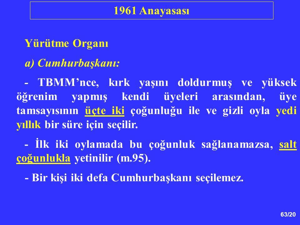1961 Anayasası Yürütme Organı. a) Cumhurbaşkanı: