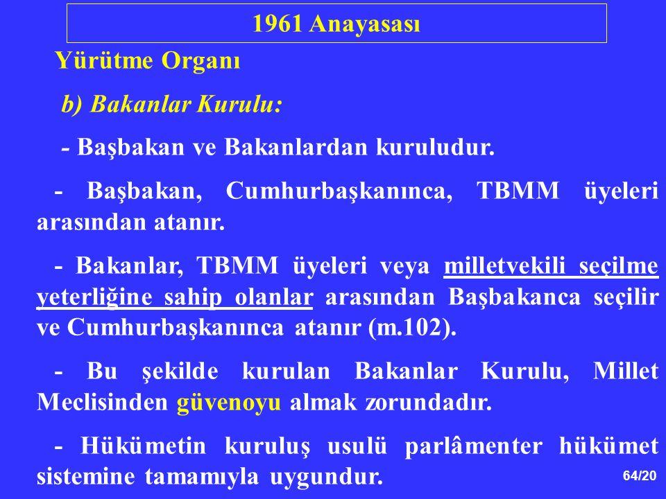 1961 Anayasası Yürütme Organı. b) Bakanlar Kurulu: - Başbakan ve Bakanlardan kuruludur.