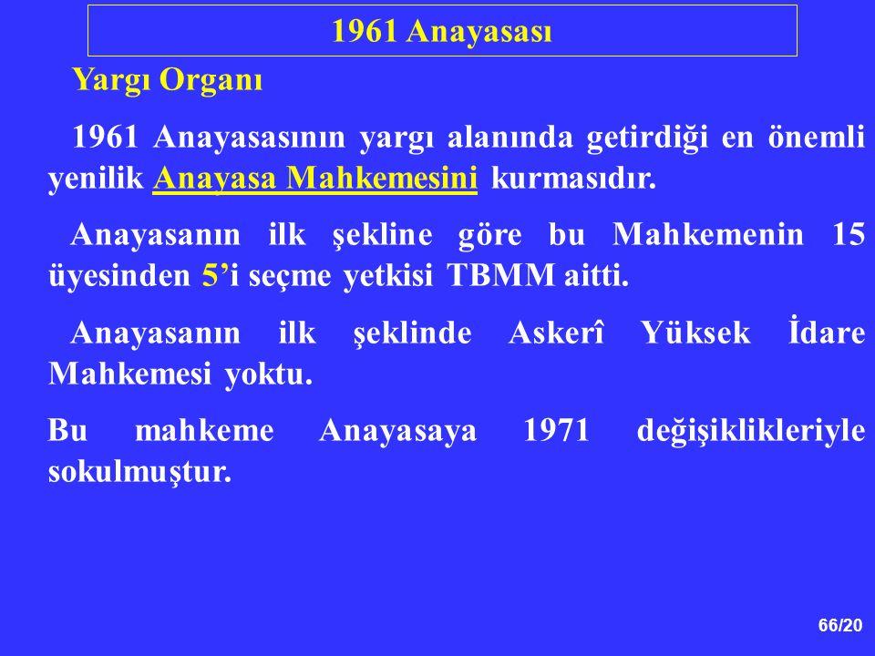 1961 Anayasası Yargı Organı. 1961 Anayasasının yargı alanında getirdiği en önemli yenilik Anayasa Mahkemesini kurmasıdır.