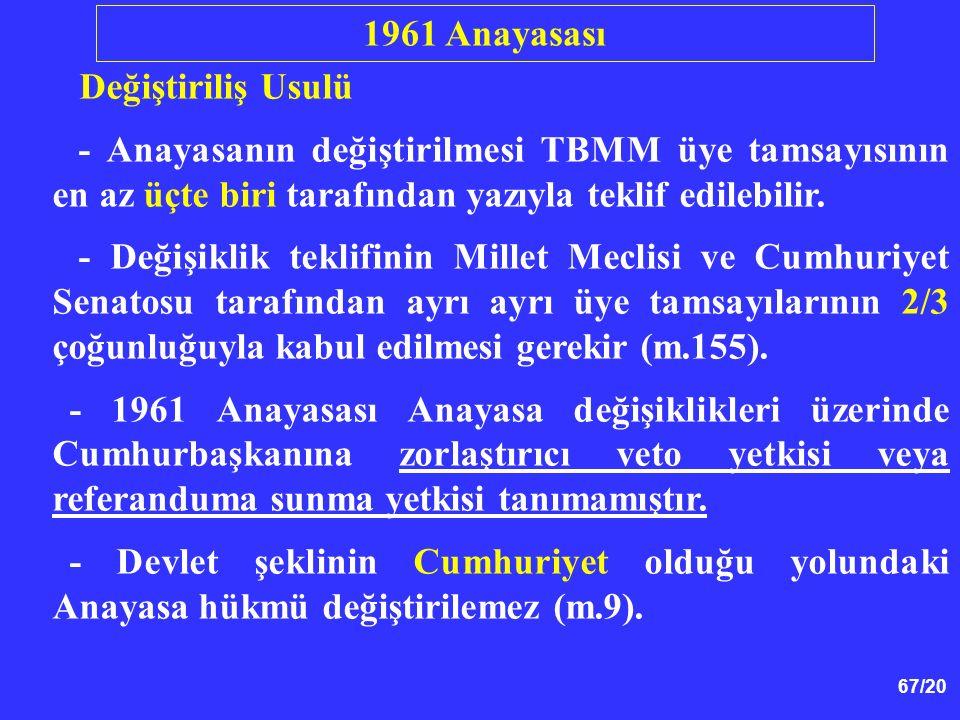 1961 Anayasası Değiştiriliş Usulü. - Anayasanın değiştirilmesi TBMM üye tamsayısının en az üçte biri tarafından yazıyla teklif edilebilir.