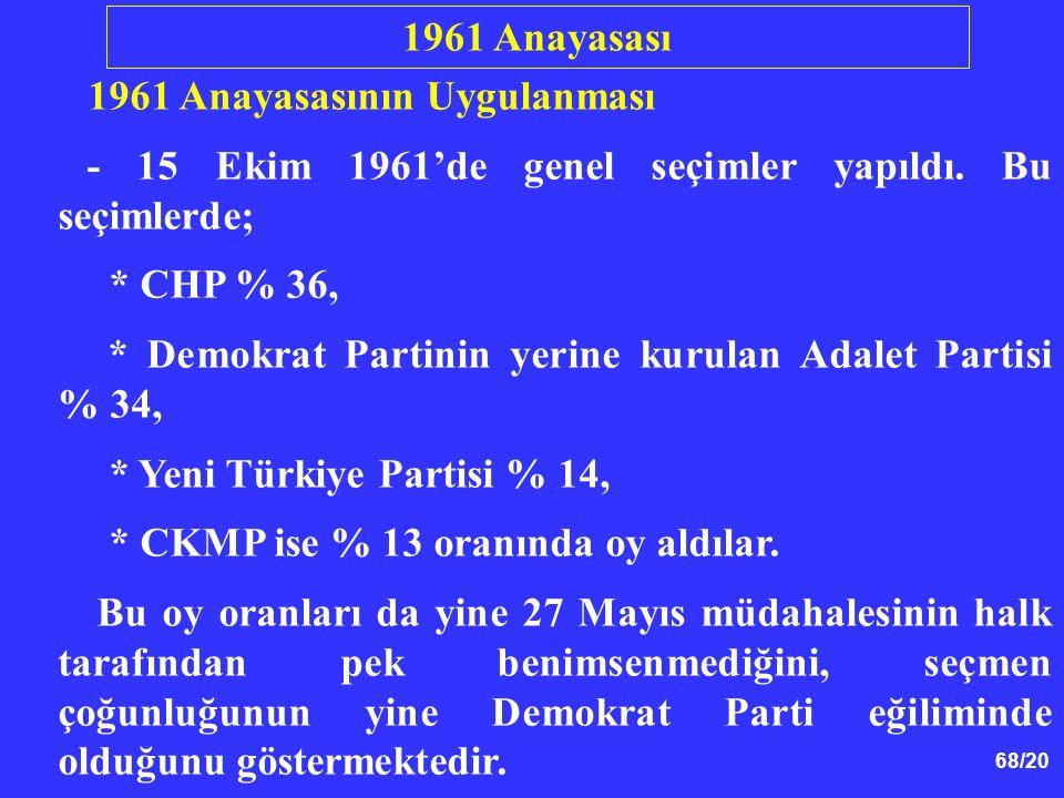 1961 Anayasası 1961 Anayasasının Uygulanması. - 15 Ekim 1961'de genel seçimler yapıldı. Bu seçimlerde;