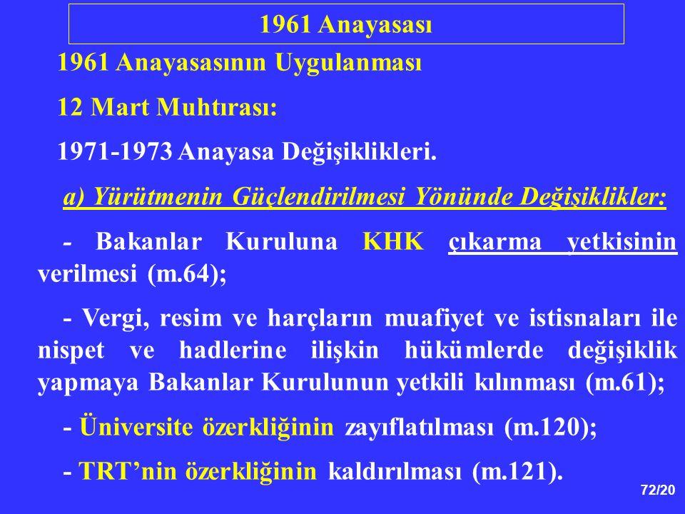 1961 Anayasası 1961 Anayasasının Uygulanması. 12 Mart Muhtırası: 1971-1973 Anayasa Değişiklikleri.