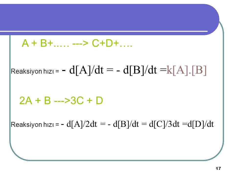 A + B+..… ---> C+D+…. 2A + B --->3C + D