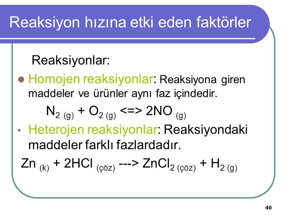 Reaksiyon hızına etki eden faktörler