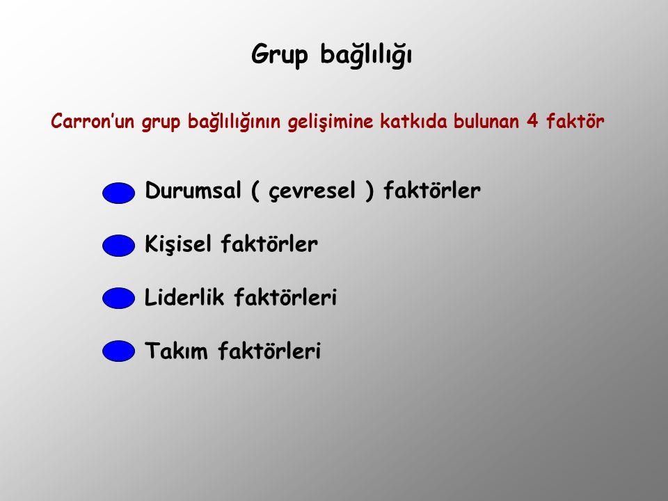 Grup bağlılığı Durumsal ( çevresel ) faktörler Kişisel faktörler