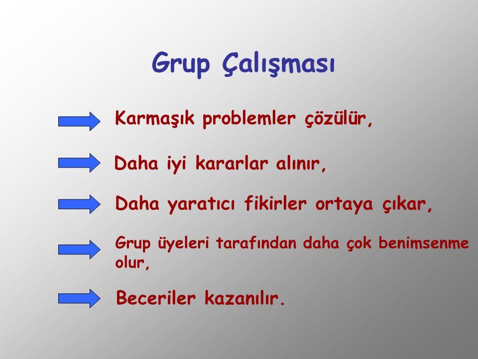 Grup Çalışması Karmaşık problemler çözülür, Daha iyi kararlar alınır,
