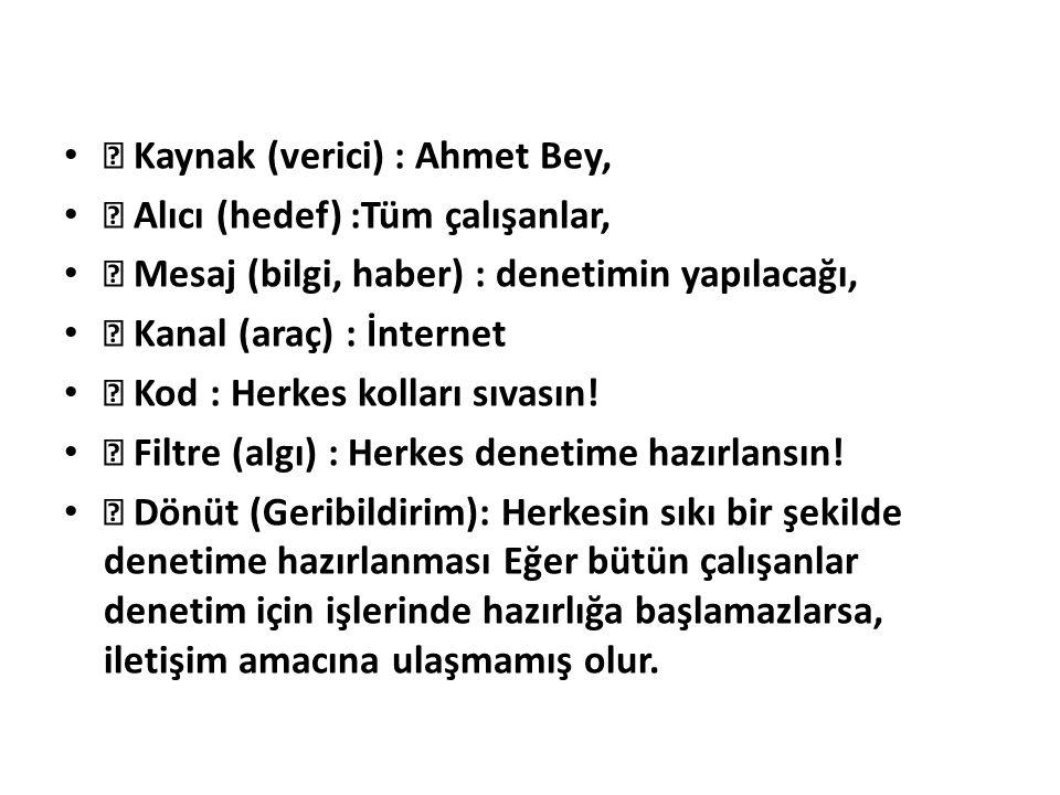  Kaynak (verici) : Ahmet Bey,