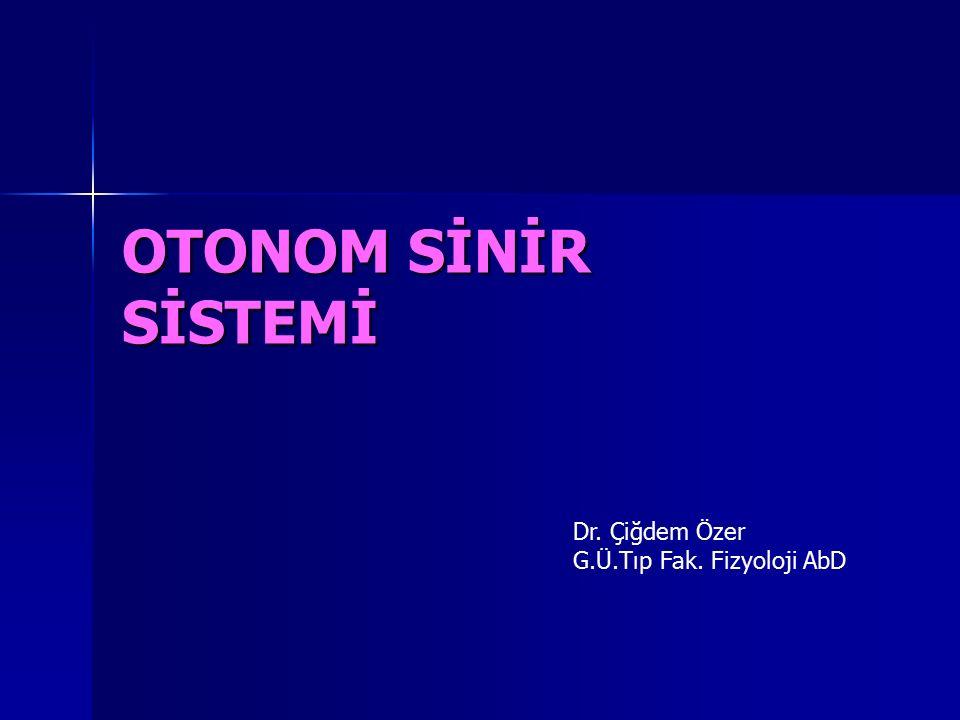 OTONOM SİNİR SİSTEMİ Dr. Çiğdem Özer G.Ü.Tıp Fak. Fizyoloji AbD