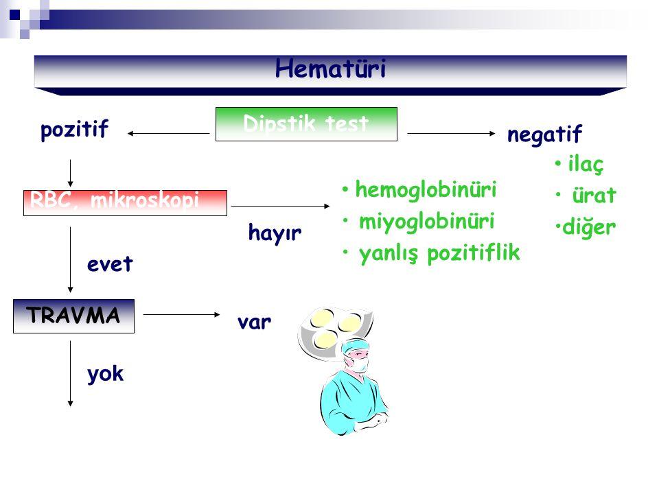 Hematüri Dipstik test pozitif negatif ilaç ürat hemoglobinüri diğer