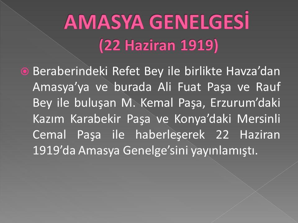 AMASYA GENELGESİ (22 Haziran 1919)