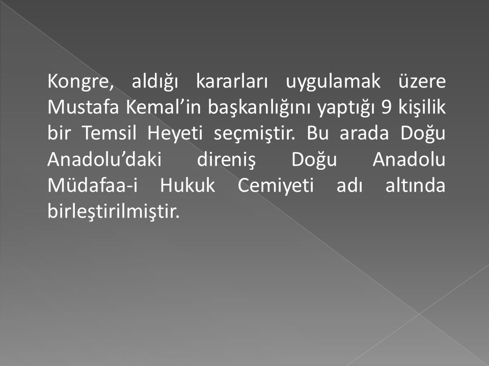 Kongre, aldığı kararları uygulamak üzere Mustafa Kemal'in başkanlığını yaptığı 9 kişilik bir Temsil Heyeti seçmiştir.