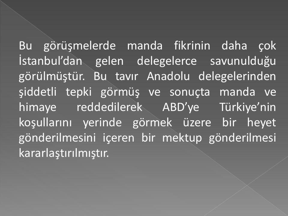 Bu görüşmelerde manda fikrinin daha çok İstanbul'dan gelen delegelerce savunulduğu görülmüştür.