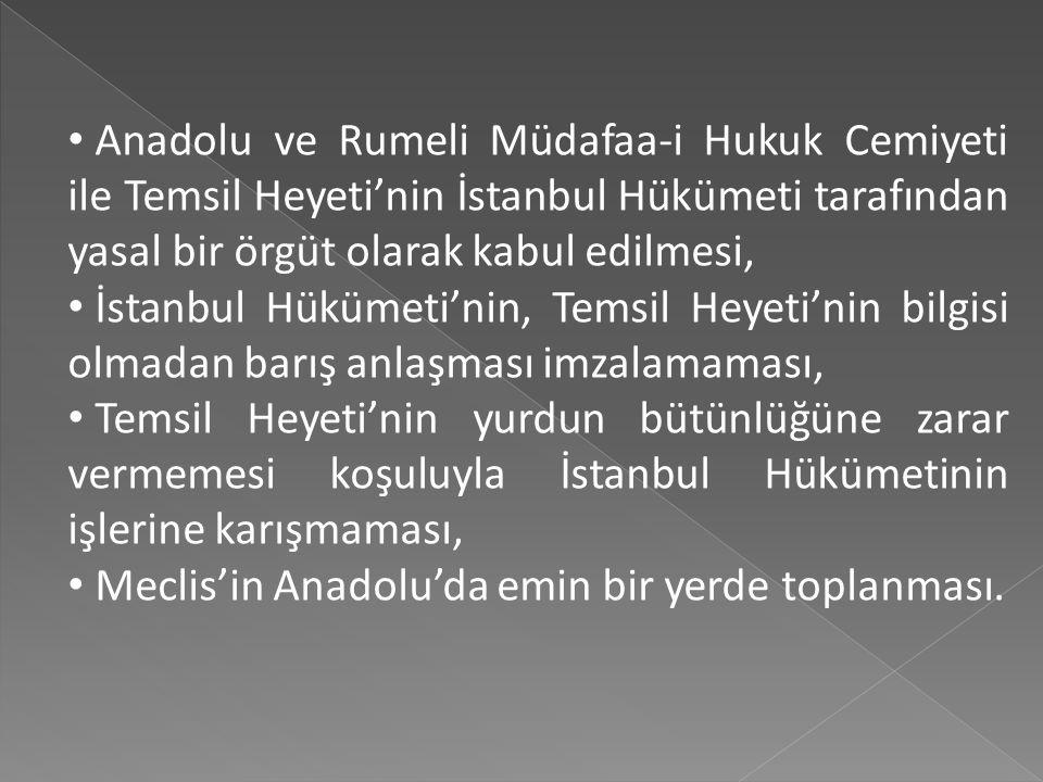 Anadolu ve Rumeli Müdafaa-i Hukuk Cemiyeti ile Temsil Heyeti'nin İstanbul Hükümeti tarafından yasal bir örgüt olarak kabul edilmesi,