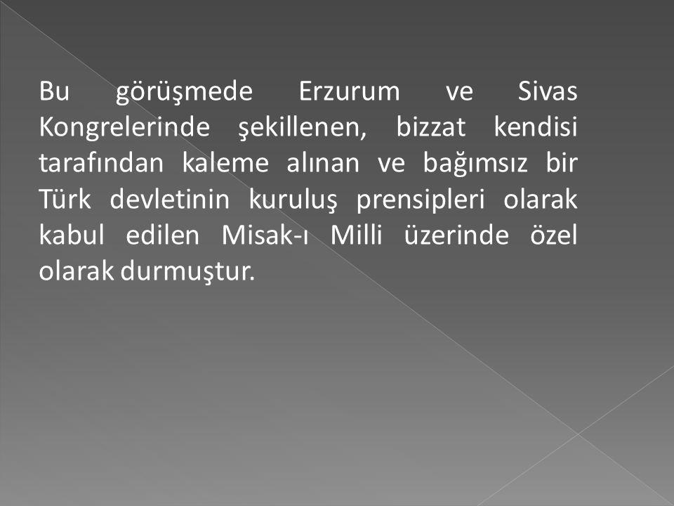 Bu görüşmede Erzurum ve Sivas Kongrelerinde şekillenen, bizzat kendisi tarafından kaleme alınan ve bağımsız bir Türk devletinin kuruluş prensipleri olarak kabul edilen Misak-ı Milli üzerinde özel olarak durmuştur.