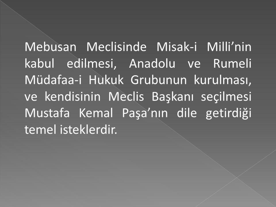 Mebusan Meclisinde Misak-i Milli'nin kabul edilmesi, Anadolu ve Rumeli Müdafaa-i Hukuk Grubunun kurulması, ve kendisinin Meclis Başkanı seçilmesi Mustafa Kemal Paşa'nın dile getirdiği temel isteklerdir.