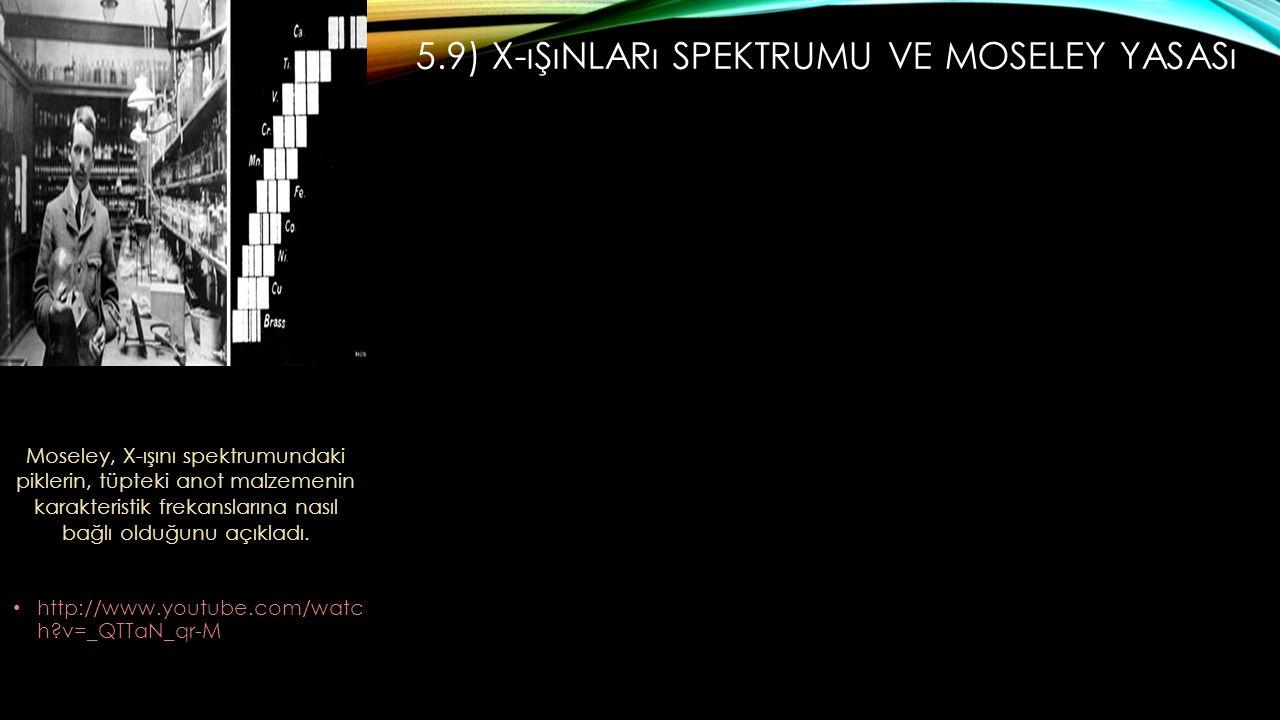 5.9) X-ışınları Spektrumu Ve Moseley Yasası