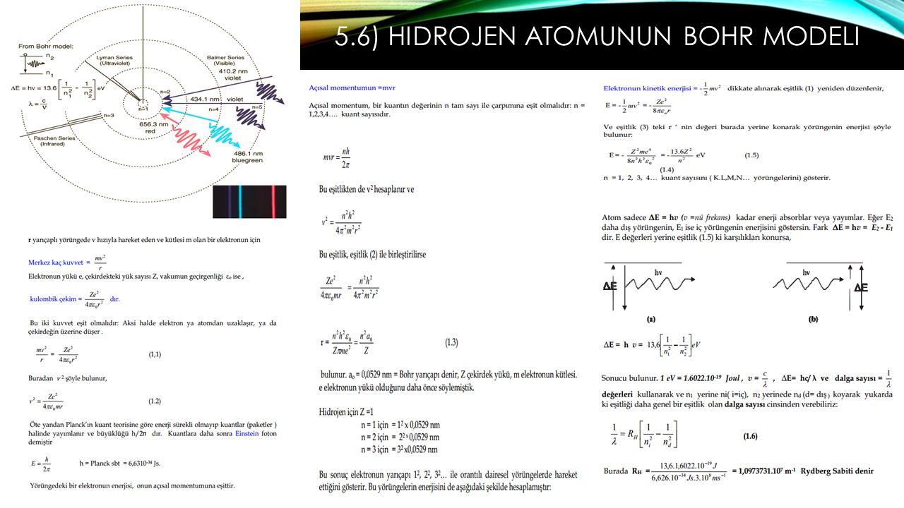 5.6) Hidrojen Atomunun Bohr Modeli