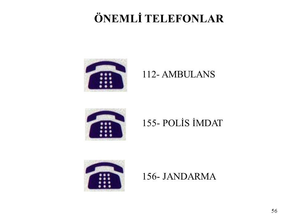 ÖNEMLİ TELEFONLAR 112- AMBULANS 155- POLİS İMDAT 156- JANDARMA