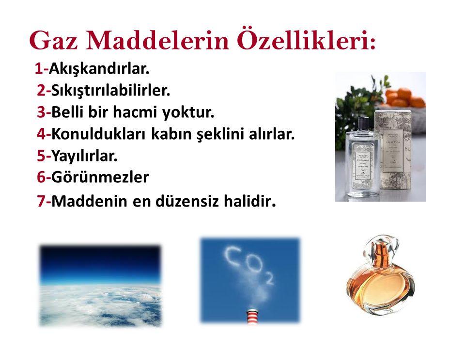 Gaz Maddelerin Özellikleri: 1-Akışkandırlar. 2-Sıkıştırılabilirler
